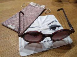Snob Sonnenbrille rot rund NEU
