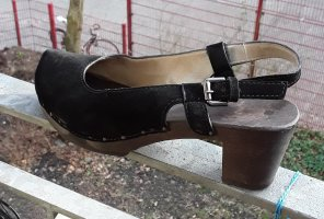 Softclox Pumps, schwarzes Velourleder