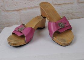 Sommer Holz Clogs Schlappen Scholl Größe 39 Pink Natur Blogger Style Clog Sandalen Schuhe