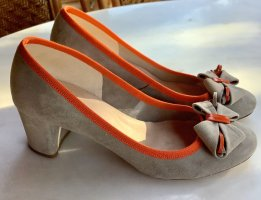 Pointed Toe Pumps grey-neon orange