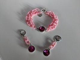 Sommer-Schmuckset Armband und Ohrschmuck Textilglieder und Swarovskikristalle