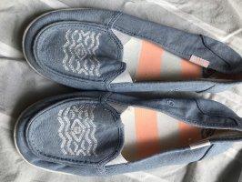 Zapatos de marinero azul celeste-blanco