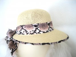 Chapeau de paille brun sable-rosé