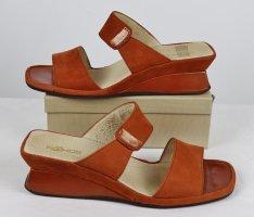 Sommer Wedges Sandalen Schlappen Rohde Größe 38 Rost Orange Leder Schuhe Pumps