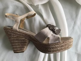 Castañer Wedge Sandals beige-silver-colored