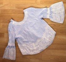 Zara Koronkowa bluzka biały-błękitny