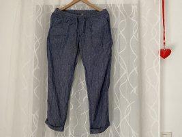 Living Crafts Lniane spodnie stalowy niebieski Len