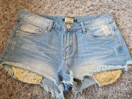 Daysie Pantalón corto de tela vaquera color oro-azul celeste