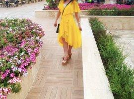 Asos Szyfonowa sukienka żółty