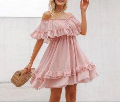 Sommerkleid, rosé, off shoulder, rüschchen, casual, urlaub, chiffon