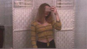 Empiècement de blouses noir-orange doré