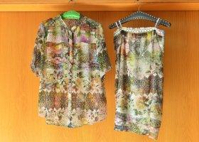 SOMMERMANN 44/L elegantes farbenfrohes Kostüm Bluse Rock Zweiteiler Vintagelook