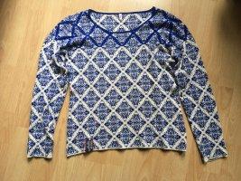 Blutgeschwister Maglione lavorato a maglia bianco-blu scuro