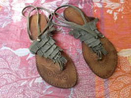 Toe-Post sandals brown-ocher leather