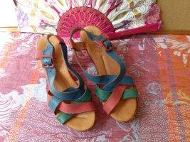 Sandalias con plataforma multicolor Cuero