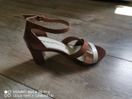 Tamaris Strapped High-Heeled Sandals bronze-colored