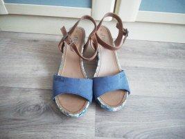 s.Oliver Platform High-Heeled Sandal light brown-cornflower blue