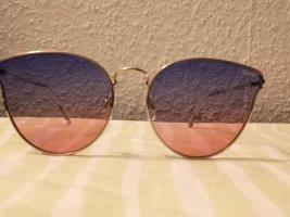 Sonnebrille Brille Quay Australia Farbwechsel Blau Pink Goldgestell Breite 14cm Bügellänge 15cm