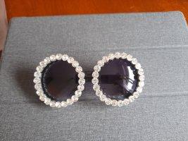 LUXURY Okrągłe okulary przeciwsłoneczne biały-czarny