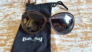 Owalne okulary przeciwsłoneczne bladofiołkowy-brązowy