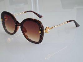 Owalne okulary przeciwsłoneczne brąz-piaskowy brąz Włókno octanowe