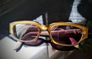 Gucci Occhiale da sole ovale oro-verde oliva