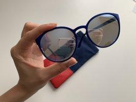 Le Specs Okrągłe okulary przeciwsłoneczne niebieski neonowy-niebieski