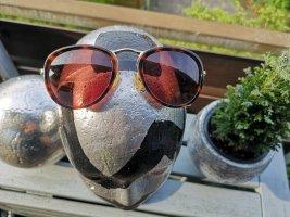 Massimo Dutti Round Sunglasses gold-colored-brown