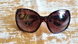 Owalne okulary przeciwsłoneczne ciemnobrązowy-złoto