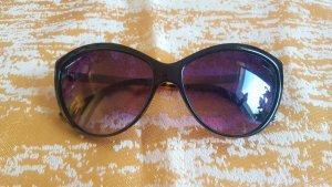 Okrągłe okulary przeciwsłoneczne złoto-czarno-brązowy