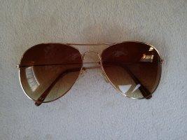 Gafas de piloto color oro-marrón claro