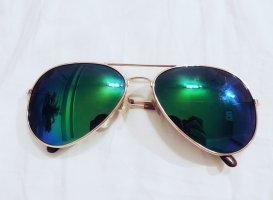 Sonnenbrille Pilotenbrille grün / gold
