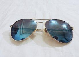 Sonnenbrille Pilotenbrille hellblau / silber