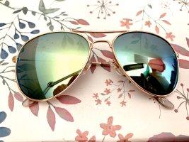 Sonnenbrille Pilotenbrille von Sportscheck ähnlich wie RayBan verspiegelte Gläser Grün Farbverlauf mit Roségold.wie NEU!