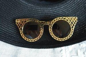 Vintage Kwadratowe okulary przeciwsłoneczne złoto-jasnobrązowy