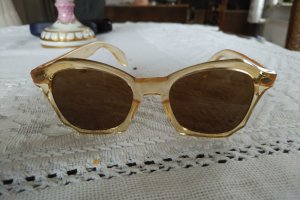 Original Vintage Kwadratowe okulary przeciwsłoneczne ciemny żółty-kremowy