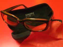 Chanel Gafas de sol cuadradas negro-marrón arena