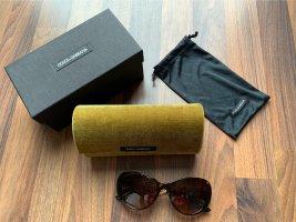 Dolce & Gabbana Occhiale da sole ovale oro-marrone scuro
