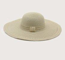 100% Fashion Sombrero de ala ancha crema