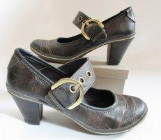 Spangenpumps Gino Ventori  Größe 37 Khaki Grün Braun Streifen Schnalle Pumps Schuhe Mary Janes
