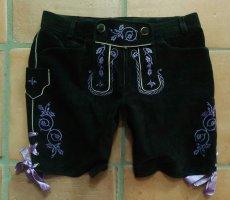 Spieth & Wensky Pantalón de cuero tradicional negro-púrpura Cuero