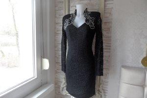 Spitzen Kleid Mit Perlen Beschmück Gr. 36-38 Schwarz Abend Kleid Luxus Pur.