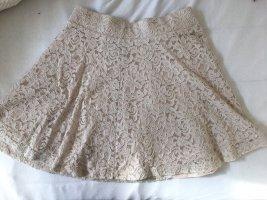 H&M Falda de encaje beige claro-crema