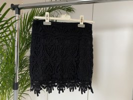 Fishbone Falda de encaje negro