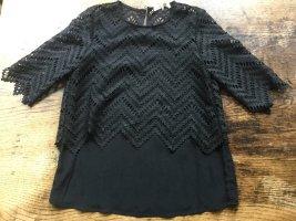 Maje Top en maille crochet noir