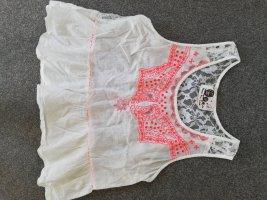 peace + love Top di merletto bianco-fucsia neon