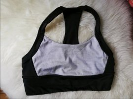 H&M Top deportivo sin mangas negro-color plata