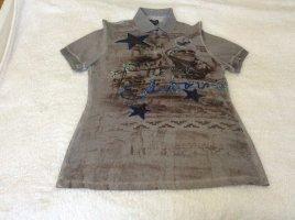 Sportalm Poloshirt, graubraun, bedruckt, bestickt, used Optik, Gr. 40