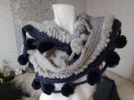 Sportalm Schal mit Echtfell Pelz & Bommeln grau blau wunderschön