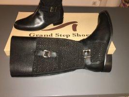 Grand Step Jackboots black leather